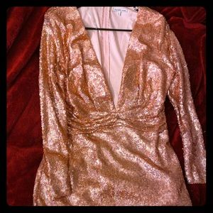 A rose gold sequin dress